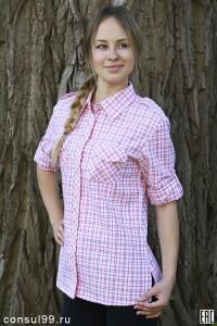 Рубашка женская в клетку, длинный рукав, шотландка, модель 04