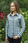 Рубашка женская в клетку, длинный рукав, шотландка