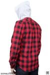 Рубашка мужская в клетку с капюшоном, длинный рукав