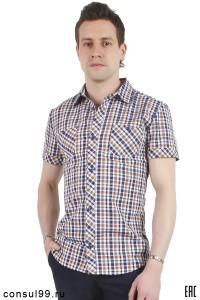 Рубашка мужская в клетку, короткий рукав, шотландка, модель 32, ассортимент
