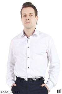 Рубашка мужская белая с отделкой