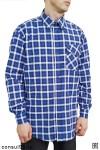 Рубашка мужская в клетку, длинный рукав, 1 карман, смесовая ткань