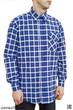 Рубашка мужская, длинный рукав, 1 карман, смесовая ткань