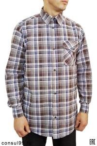 """Рубашка мужская в клетку, длинный рукав, 1 карман, шотландка, """"Эконом"""""""