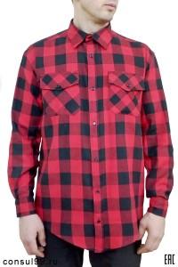 Рубашка мужская в клетку ч/к, длинный рукав, 2 кармана