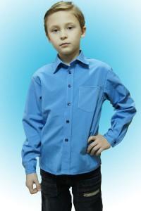 Рубашка детская синяя, длинный рукав, ткань Гера