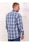Рубашка мужская в клетку, длинный рукав, 1 карман, шотландка