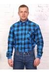 Рубашка мужская в клетку, длинный рукав, 1 карман