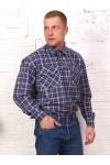 Рубашка мужская в клетку, длинный рукав, фуле 2 кармана