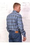 Рубашка мужская в клетку, длинный рукав, фуле 1 карман