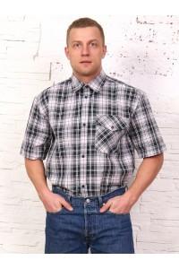 Рубашка мужская в клетку, короткий рукав, 1 карман, шотландка