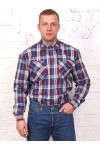 Рубашка мужская в клетку,  длинный рукав, 2 кармана
