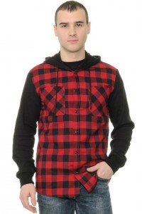 Рубашка мужская в клетку, рукава и капюшон - трикотаж