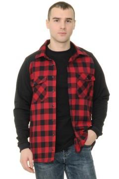 Рубашка мужская в клетку, рукава - реглан трикотажные