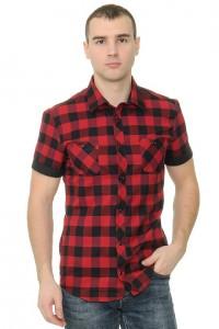 Рубашка мужская в клетку, короткий рукав с отделкой