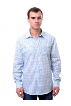 Рубашка мужская в клетку, длинный рукав, шотландка, модель ПД-32-7