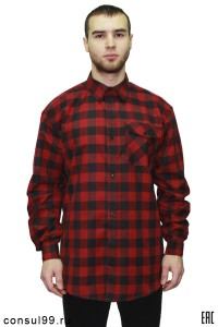 Рубашка мужская в клетку ч/к, длинный рукав, 1 карман
