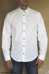 Рубашка мужская белая, длинный рукав, приталенная