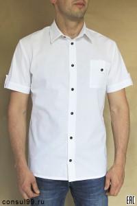 Рубашка мужская белая короткий рукав / черные пуговицы
