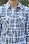 Рубашка мужская в клетку, длинный рукав, шотландка, модель 35