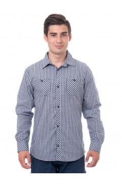 Рубашка мужская в клетку, длинный рукав, шотландка, модель ПД-32-8