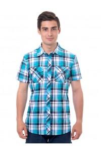 Рубашка мужская в клетку, короткий рукав, шотландка, модель 30, клетка 2