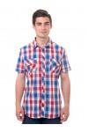 Рубашка мужская в клетку, короткий рукав, шотландка, модель 30, в ассортименте
