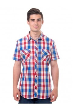Рубашка мужская в клетку, короткий рукав, шотландка, модель 30, клетка 3