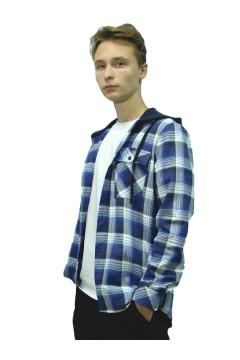 Рубашка мужская в клетку с капюшоном, фуле, синий