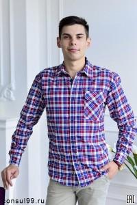 Рубашка мужская с длинным рукавом, 1 карман /шотландка/