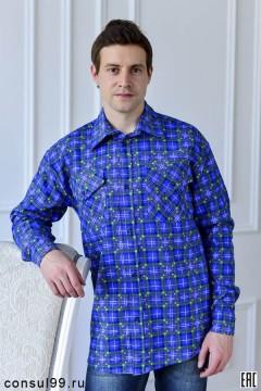 Рубашка мужская длинный рукав, 2 кармана, фланель