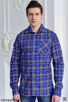 Рубашка мужская в клетку, длинный рукав, 1 карман, фланель, по ТУ