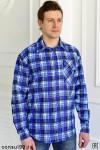 Рубашка мужская в клетку, длинный рукав, 1 карман, фланель
