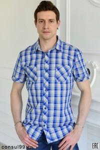 Рубашка мужская в клетку, короткий рукав, шотландка, модель 32