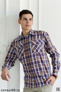 Рубашка мужская длинный рукав, 2 кармана /шотландка/