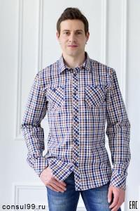 Рубашка мужская в клетку,  длинный рукав, шотландка, модель ПД-32
