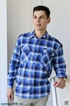 Рубашка мужская в клетку, длинный рукав, 2 кармана, фуле