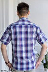 Рубашка мужская в клетку, короткий рукав, 2 кармана, шотландка