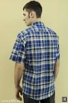 Рубашка мужская в клетку, короткий рукав, 1 карман, бязь