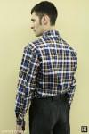 Рубашка мужская в клетку, длинный рукав, 1 карман, бязь