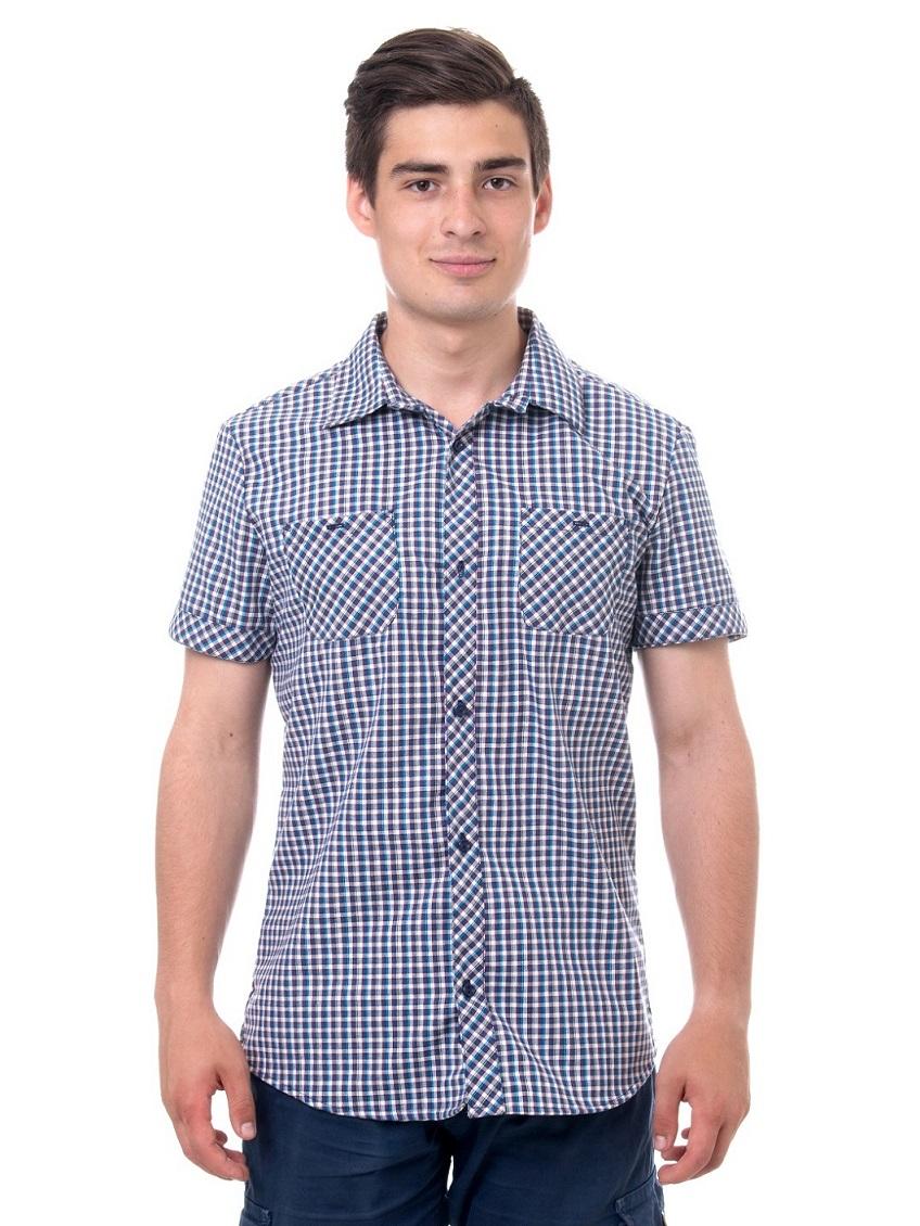 7cc269818c15f17 Рубашка мужская в клетку, короткий рукав, шотландка, модель 32, клетка 4
